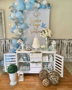 Details about balloon decorate strip arch garland connect chain diy tape Communion Decorations, Christening Decorations, Baby Shower Decorations, Baptism Party, Boy Baptism, Mini Balloons, Boy Decor, Ideas Para Fiestas, Candy Table