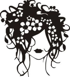 Beautiful Flower Hair Girl 2  vinyl wall art Salon / Home / Office