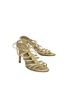 Valentino- Gold Braided Heels Sz 8 | Current Boutique