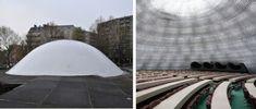 Oscar Niemeyer, Siège du Parti Communiste Français, Paris, 1971 © NIEMEYER, OSCAR / ADAGP, Paris, 2017 À gauche : vue extérieure. photo : seier+seier À droite : vue intérieure. photo : Guilhem Vellut