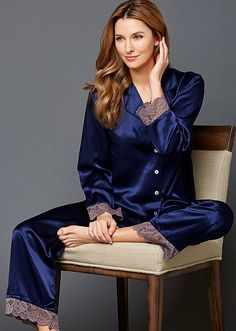 What is so special about silk pajamas. Why bother to buy them, cotton pajamas will serve the same purpose? Here's a few reasons to owning a pair of silk pajamas Satin Sleepwear, Satin Pyjama Set, Satin Pajamas, Pajama Set, Nightwear, Pajamas For Teens, Cute Pajamas, Pajamas Women, Womens Silk Pajamas