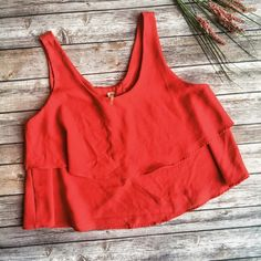 Paper Crane Red Tiered Crop Top ❤️ ★ Excellent condition.  ★ This awesome red, tiered and ruffled crop top by Paper Crane is perfect for spring, summer, and festival season! Super cute! ❤️ ★ 100% Polyester.  ★ NO TRADES!  ★ YES OFFERS! ✅ ★ Measurements available by request.  Paper Crane Tops Crop Tops