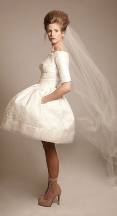 I am so excited for the 2015 bride  #Vintageyetmodern My mom wore this on her #weddingday!  #TBT  Short Wedding Dress with Swiss Dots Gorg