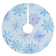 Snowflakes in Blue Brushed Polyester Tree Skirt - trendy gifts cool gift ideas customize