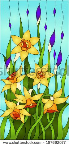 daffodils and iris bud, spring flower love, Symbol of Wales/ Stained glass window