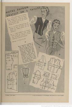 Nouveauté : modes, ouvrages, variétés, roman | 1938-04-24 | Gallica Vintage Diy, Mode Vintage, Vintage Love, Vintage Sewing, 40s Fashion, Fashion History, Clothing Patterns, Sewing Patterns, Retro Illustration
