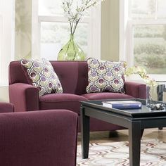 A purple loveseat that really pops!