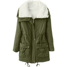 Faux Pockets Zip Up Shearling Coat ($30) ❤ liked on Polyvore featuring outerwear, coats, green coats, sheep fur coat and shearling coats
