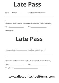 123 Best Late Pass Images Printing Schools Typography Rh Com School Tardy Passes Free Printable