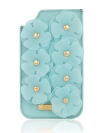 Silicone-embellished textured-leather iPhone 5 sleeve by Christopher Kane
