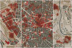 Mapa de los bombardeos en Argüelles, el centro de Madrid y Carabanchel-Latina. / E. BORDES Y L. DE SOBRÓN