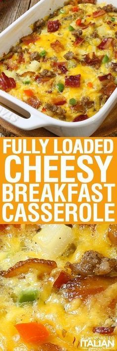 Fully Loaded Cheesy Breakfast Casserole is all of our favorite things in an easy breakfast recipe that you can make ahead. Packed with eggs, potatoes, veggies, sausage AND bacon it is truly a full breakfast in one dish. The overnight cooking method makes