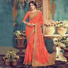 Buy Coral Red Party Wear Georgette Saree online India, Best Prices, Reviews - Peachmode
