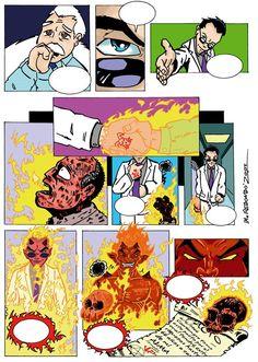 """M.REDONDO- Comics: * Página del cómic """"El Pacto"""" Tinta y color"""