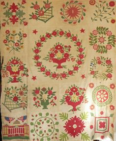 """Antique Baltimore Album Quilt Top Fabulously detailed, 68 x 80"""", Cow Hollow Collectibles, Ruby Lane"""