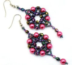 Handmade pink & purple beadwork earrings, Czech glass pearls, fire polished beads, seed beads, ready to ship, beaded bead dangle earrings