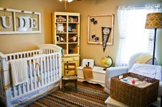 vintage baby boy sports themed nursery. Perfect! Just change the colors to orange and aqua.