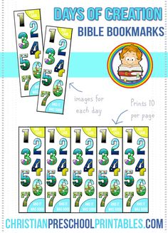Days of Creation Bible Bookmarks.  Learn what God created each day with these fun, colorful bookmarks.