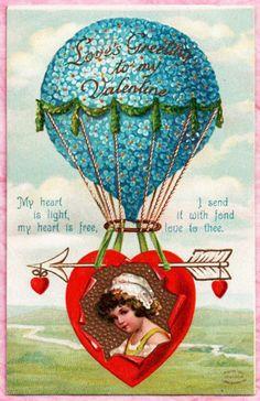 ELLEN CLAPSADDLE PRETTY VALENTINE GIRL ALOFT IN BLUE FLORAL HOT AIR BALLOON 1908 #ValentinesDay