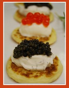 Blinis with caviar August 22, The Gathering, Caviar, Waffles, Dishes, Breakfast, Desserts, Recipes, Wedding