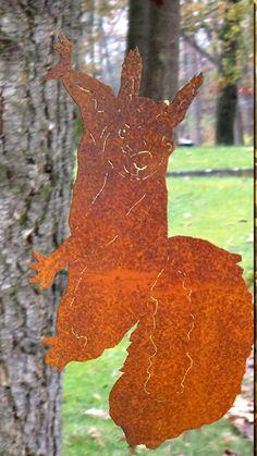 Edelrost Eichhörnchen Garten Dekoration Metall Herbst Baum Tier Terrasse Rasen