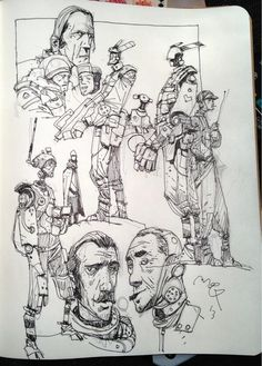 Ian Mcque sketchbook: Robots and Ripper Street