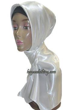 Satin Solid Square Hijab - Ivory