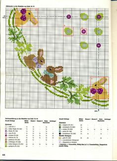 Cross Stitching, Cross Stitch Embroidery, Cross Stitch Patterns, Easter Tablecloth, Rabbit Crafts, Easter Crochet Patterns, Cross Stitch Collection, Easter Cross, Cross Stitch Flowers