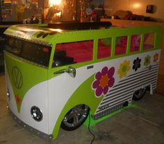 Its a cute little hippie bus bed!! I want this!!