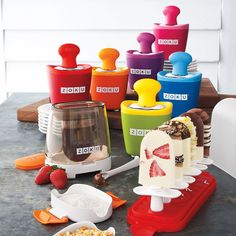 Zoku- I want one of these so bad. I would love to be able to offer a healthier alternative than traditional ice-cream bars and popcicles to my kids without breaking the bank.