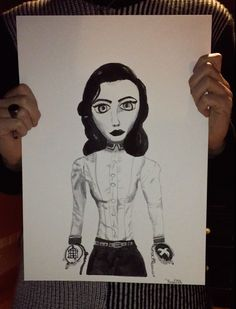 #Illustration of #bioshock #infinite #Elizabeth #freedom or #cage made with #ink and #penbrush #art