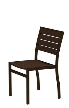 Polywood A100-16MA Euro Dining Side Chair in Textured Bronze Aluminum Frame / Mahogany