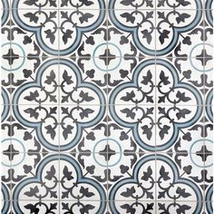 Equilibrio Blue Encaustic Cement Tile - 8 x 8 - 100470210 Decorative Tile Backsplash, Ceramic Floor Tiles, Wall Tiles, Kitchen Backsplash, Cement Tiles, Kitchen Island, Mosaic Backsplash, Kitchen Floor, Kitchen Reno