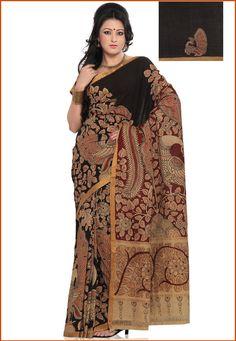 Dark Chocolate Brown Cotton Kalamkari Painted Saree with Blouse: SQV15