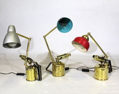 These desk lamps - made from vintage brass blowtorches - look like little creatures! Restoration Services, Furniture Restoration, Desk Lamp, Table Lamp, Interior Design Studio, Repurposed Furniture, Interior Accessories, Lamps, Wall Lights
