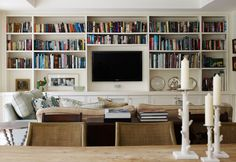 TV/bookcase wall.