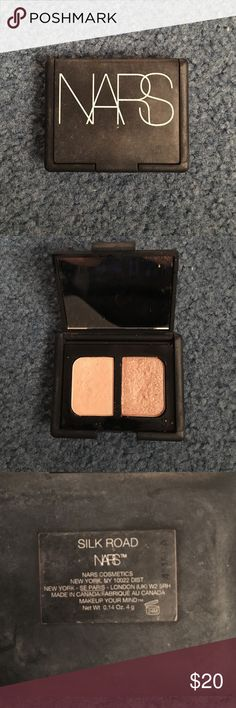 NARS eyeshadow duo in Silk Road This duo has barely been used but shows minimal use on the package because it has been in my makeup bag!! Beautiful golden and cream colors!! NARS Makeup Eyeshadow