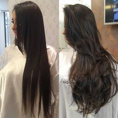 Watch how a haircut very change a hair. Logical that a specialized professional right ! This hair had a fringe . Haircuts For Long Hair With Layers, Long Layered Haircuts, Long Hair Cuts, Long Hair Styles, Long Layerd Hair, Exotic Hair Color, Balayage Long Hair, Stylish Hair, Hair Inspiration