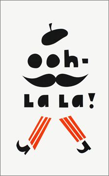 Ooh la la! Tea Towel by To Dry For - French beret, stripes, moustache and tea! Quelobjet.com