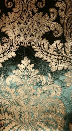 Baroque textiles because of its flamboyant gold pattern and dark green colour - the texture and colors and hints of history. My not so inner history buff is drooling. Baroque Pattern, Gold Pattern, Textures Patterns, Fabric Patterns, Le Bourgeois Gentilhomme, Tapete Gold, Chinoiserie, Pattern Texture, Slytherin Aesthetic