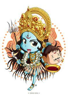 Maa Kali Emiko - Digital Painting - Tools used: Paint Tool Sai / Photoshop - Digital Art by Diego GoN / GoN_Illustrator Saraswati Goddess, Goddess Art, Goddess Lakshmi, Durga Maa, Shiva Art, Krishna Art, Hindu Art, Kali Hindu, Indian Illustration