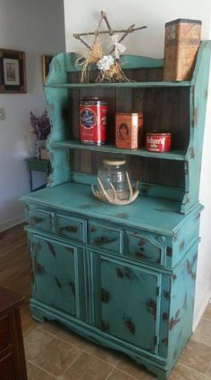 Rustic Turquoise Buffet with Faux Barn Wood Accents.  Distressed and Antiqued.  Refurbished by My Three Cs. www.facebook.com/mythreecs Western, Costal, Cottage, Shabby Chic, Antlers, Antique Tins, Star, Rustic