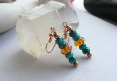 Drop Dangle Earrings with Chinese Turquoise by Sparklesalot2, $6.50