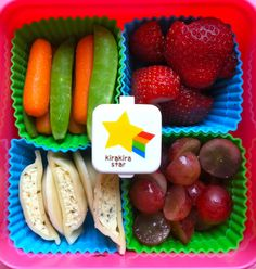 Soy ravioli with carrots, snap peas, grapes & strawberries  #bento, #vegan, #lunchbox