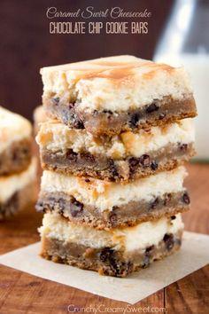 Caramel Swirl Cheesecake Chocolate Chip Cookie Bars