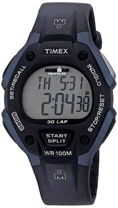 ea50487c401 Timex Men s T5H591 Ironman Classic 30 Full-Size Black Blue Resin Strap  Watch Timex