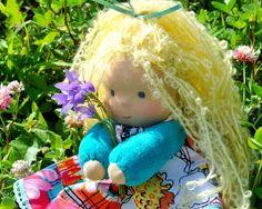 Textile Waldorf doll Nezabudka 20 sm hand made puppe от MumiDolls