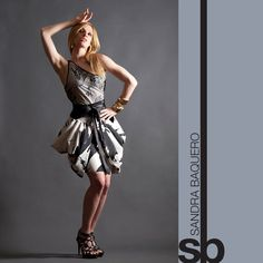 One Shoulder Dress with Draped Skirt by SandraBaquero on Etsy, $240.00