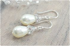 Bride Earrings Pearl Bridal Earring Bridal by AmandaBadgleyDesigns