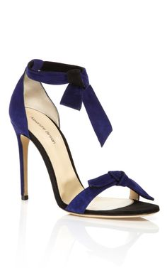Royal Blue & Black Lady Like Knotted Pump by Alexandre Birman for Preorder on Moda Operandi